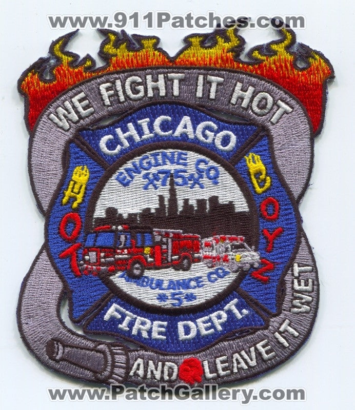 Chicago Fire Department Engine 75 Ambulance 5 Patch Illinois IL