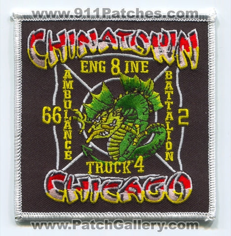 Chicago Fire Department Engine 8 Truck 4 Ambulance 66 Battalion 2 Patch Illinois IL