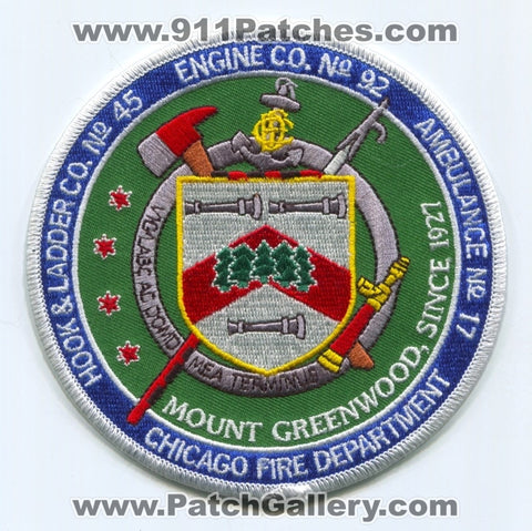Chicago Fire Department Engine 92 Hook and Ladder 45 Ambulance 17 Patch Illinois IL