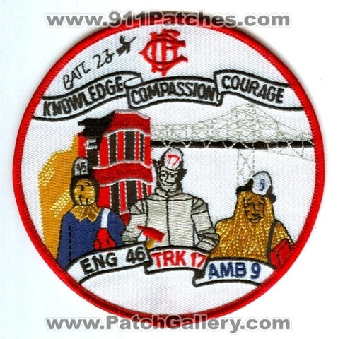 Chicago Fire Department Engine 46 Truck 17 Ambulance 9 Battalion 23 Patch Illinois IL