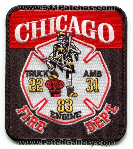 Chicago Fire Department Engine 83 Truck 22 Ambulance 31 Patch Illinois IL