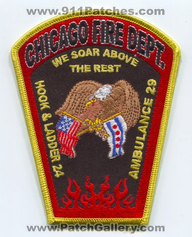 Chicago Fire Department Hook and Ladder 24 Ambulance 29 Patch Illinois IL