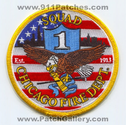 Chicago Fire Department Squad 1 Patch Illinois IL