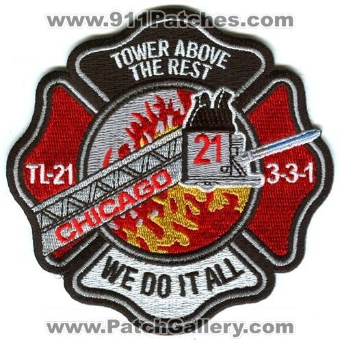 Chicago Fire Department Tower Ladder 21 Patch Illinois IL