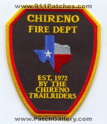 Chireno Fire Department Patch Texas TX