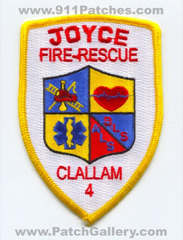 Clallam County Fire District 4 Joyce Fire Rescue Department Patch Washington WA