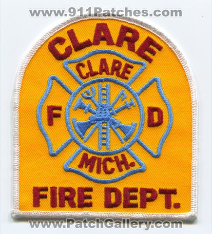 Clare Fire Department Patch Michigan MI