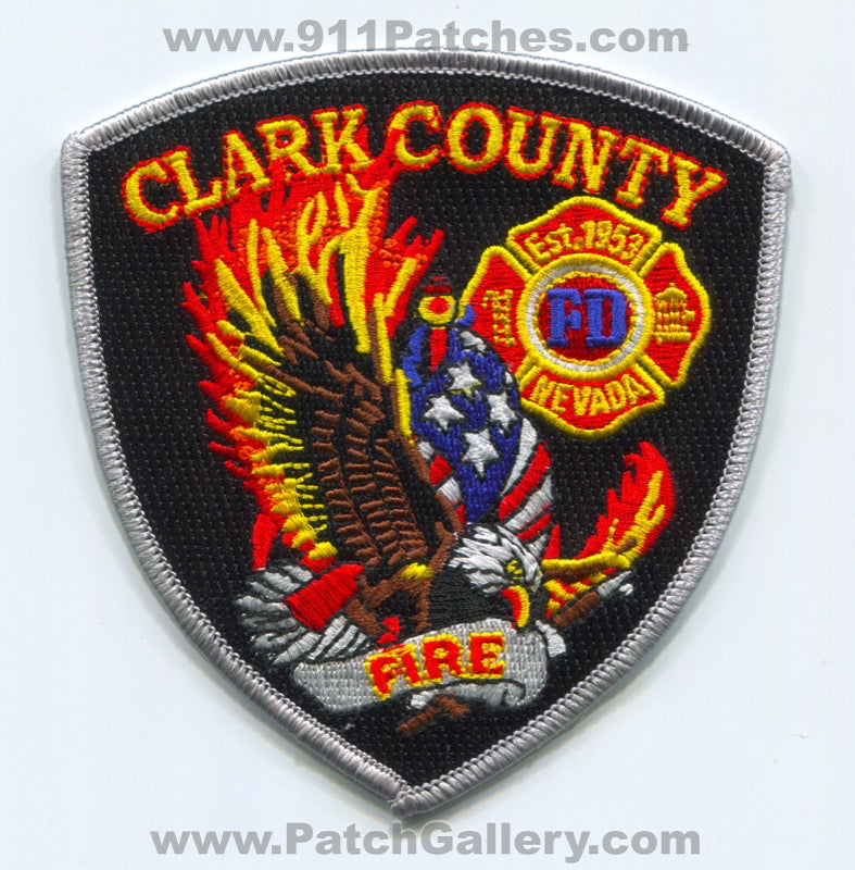 Clark County Fire Department Las Vegas Patch Nevada NV New Style Gray