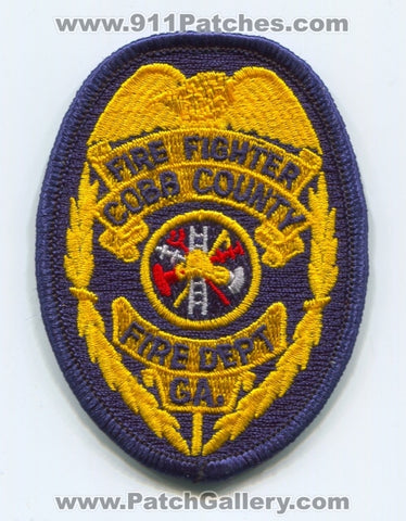 Cobb County Fire Department Firefighter Patch Georgia GA