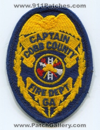 Cobb County Fire Department Captain Patch Georgia GA