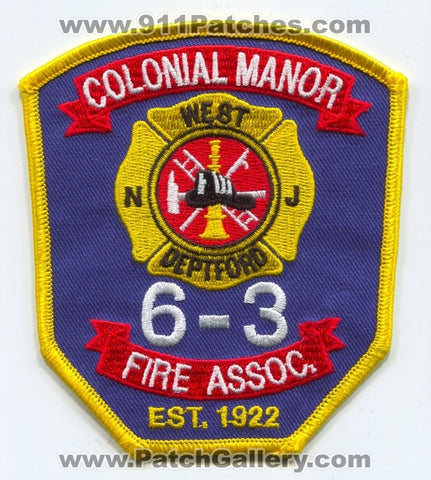 Colonial Manor Fire Association 6-3 West Deptford Patch New Jersey NJ