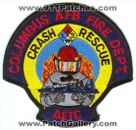 Columbus Air Force Base AFB Fire Department Crash Rescue Patch Mississippi MS