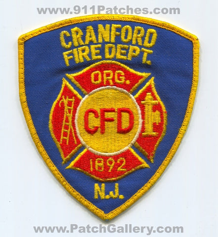 Cranford Fire Department Patch New Jersey NJ