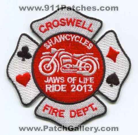 Croswell Fire Department Shawcycles Jaws of Life Ride 2013 EMS Patch Michigan MI