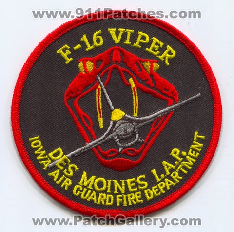 Des Moines International Airport Iowa Air Guard Fire Department USAF Military Patch Iowa IA