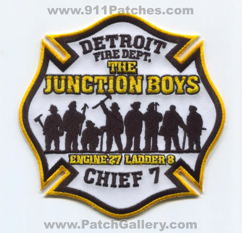Detroit Fire Department Engine 27 Ladder 8 Chief 7 Patch Michigan MI