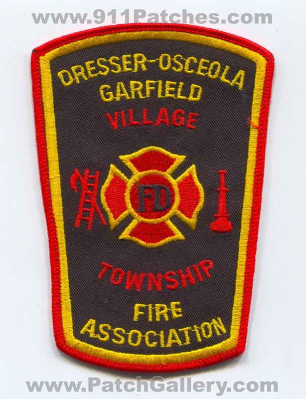 Dresser Osceola Garfield Village Township Fire Association Patch Wisconsin WI