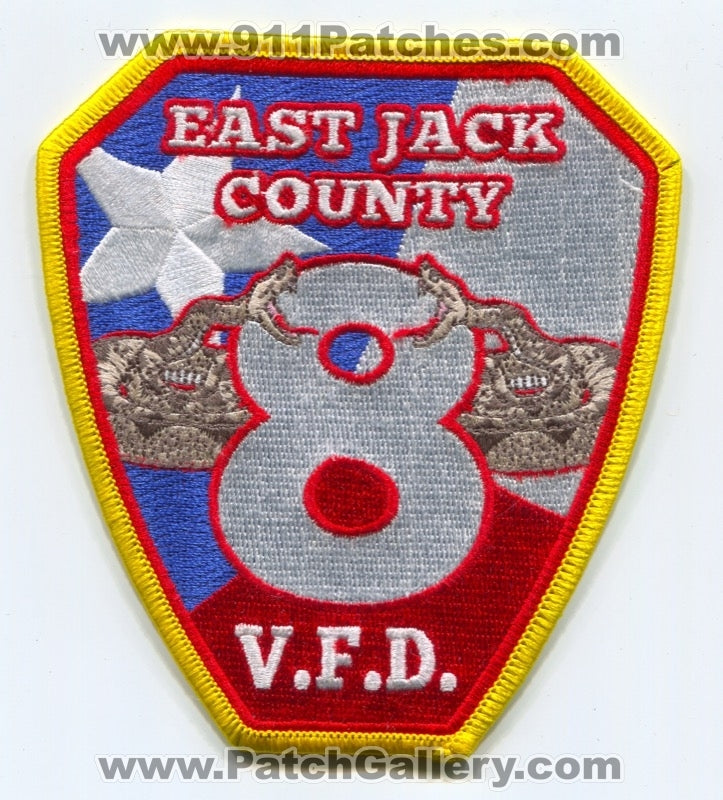 East Jack County Volunteer Fire Department 8 Patch Texas TX