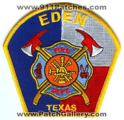 Eden Fire Department Patch Texas TX