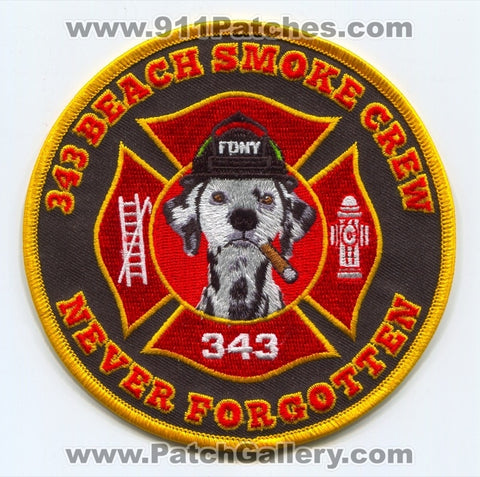 343 Beach Smoke Crew Never Forgotten Fire Department Patch New York NY