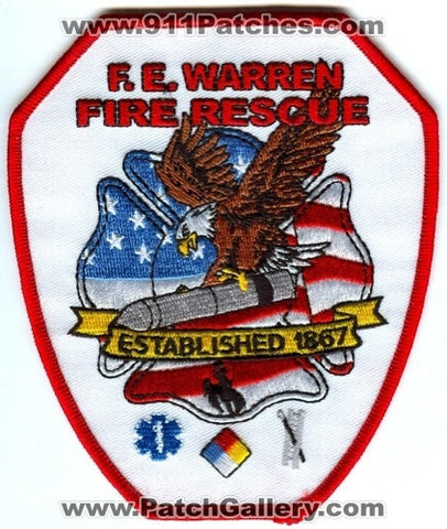 FE Warren Air Force Base AFB Fire Rescue Department USAF Military Patch Wyoming WY