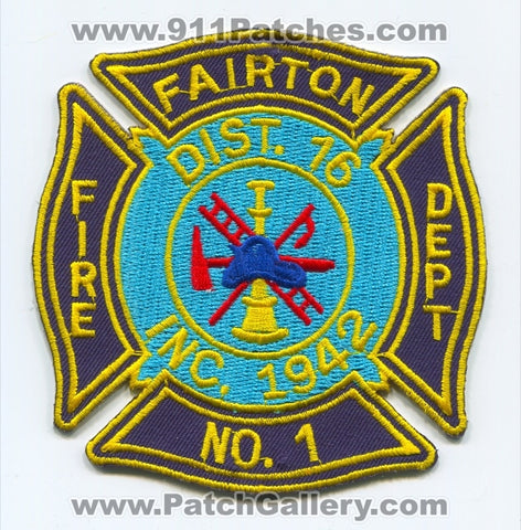 Fairton Fire Department Number 1 District 16 Patch New Jersey NJ