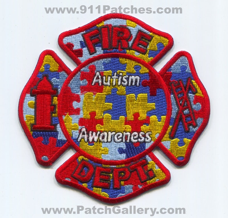 Fire Department Autism Awareness Patch No State Affiliation Blank Generic Stock