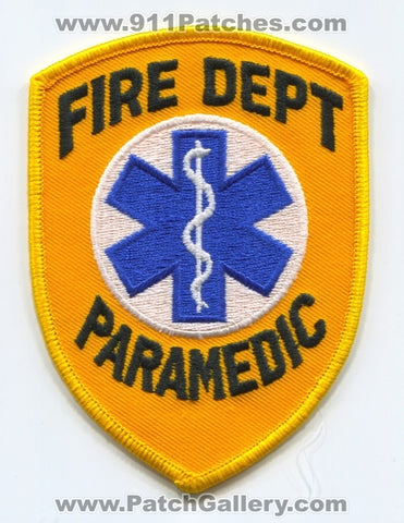 Fire Department Paramedic EMS Patch No State Affiliation Blank Generic Stock