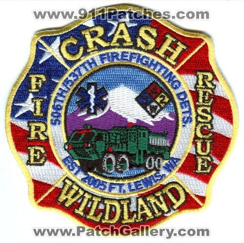 Fort Lewis Fire Department Crash Rescue Wildland US Army Military Patch Washington WA