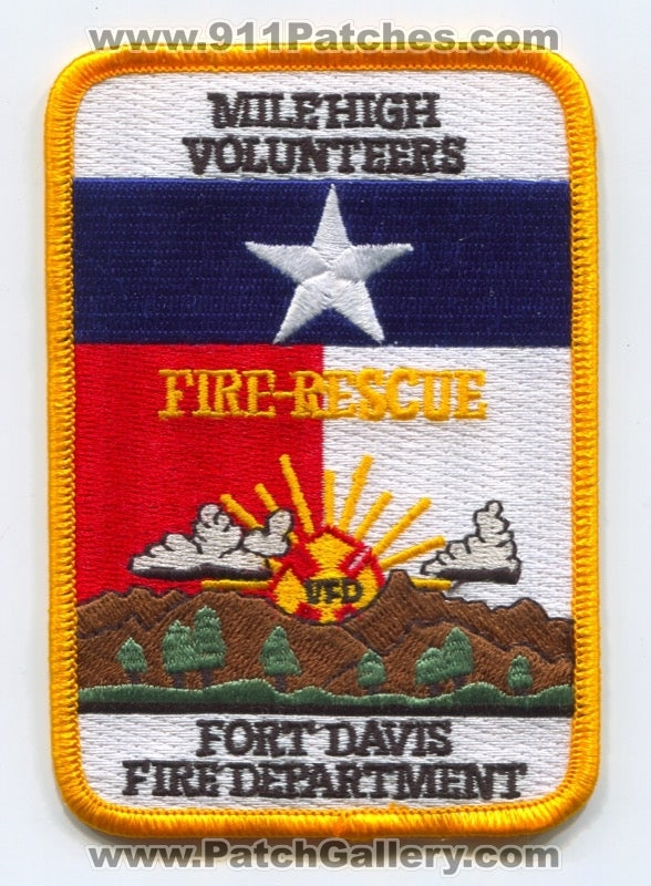 Fort Davis Volunteer Fire Rescue Department Patch Texas TX