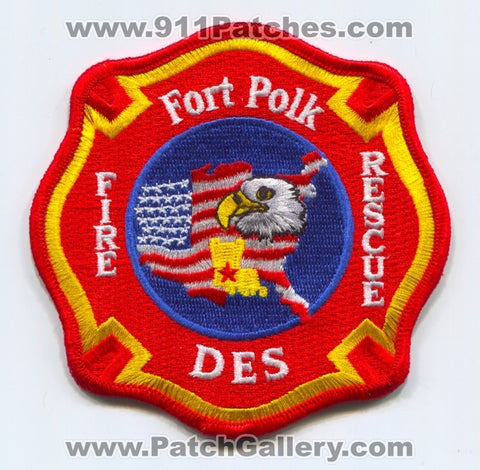 Fort Polk Fire Rescue Department Directorate of Emergency Services DES US Army Military Patch Louisiana LA