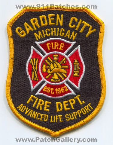 Garden City Fire Department Advanced Life Support ALS Patch Michigan MI