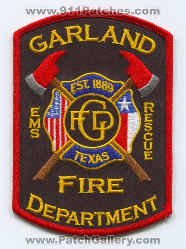 Garland Fire Department Patch Texas TX v2