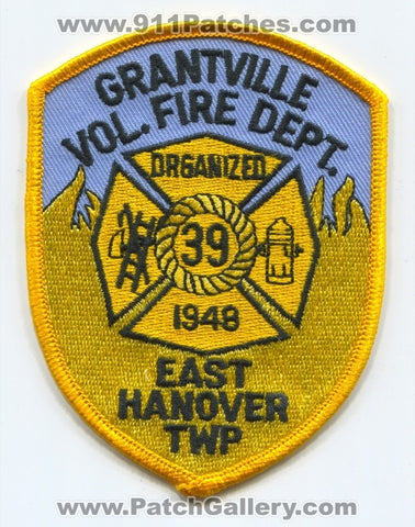 Grantville Volunteer Fire Department 39 Patch Pennsylvania PA