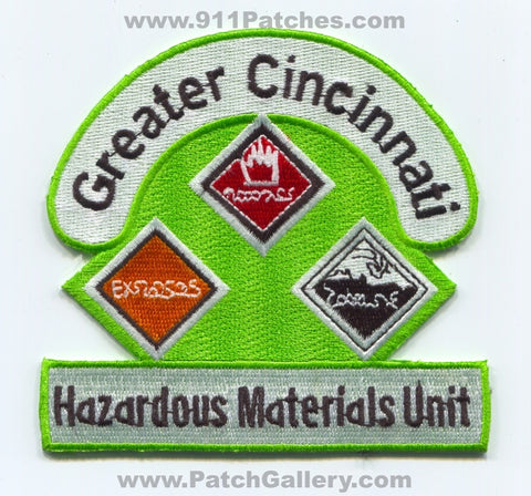 Greater Cincinnati Hazardous Materials Unit Fire Department Patch Ohio OH v2