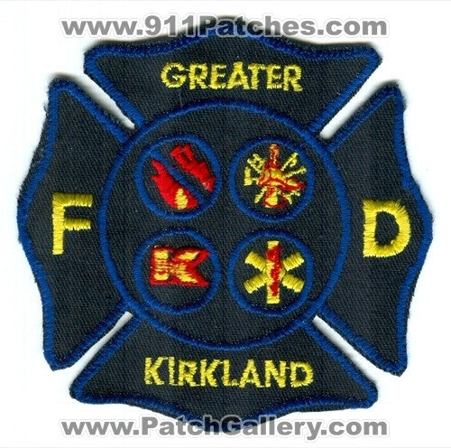 Greater Kirkland Fire Department Patch Washington WA