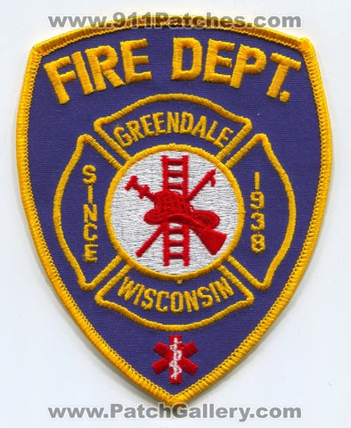 Greendale Fire Department Patch Wisconsin WI