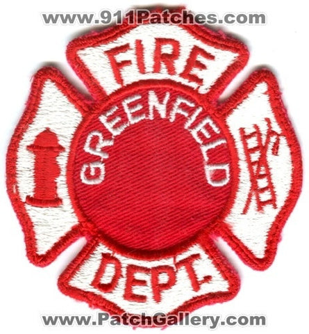Greenfield Fire Department Patch Wisconsin WI