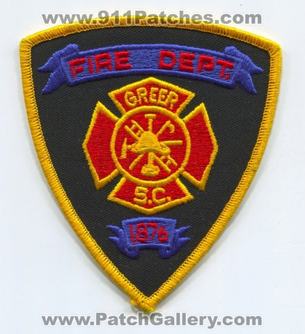 Greer Fire Department Patch South Carolina SC