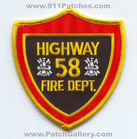Highway 58 Fire Department Patch Tennessee TN