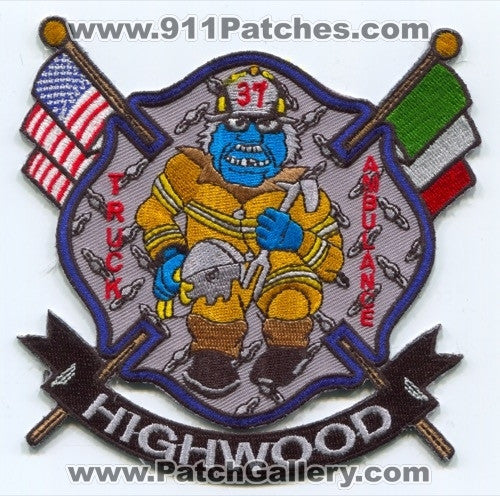 Highwood Fire Department Truck 37 Ambulance 37 Patch Illinois IL