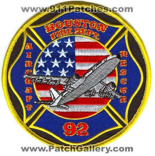 Houston Fire Department Station 92 Aircraft Rescue Patch Texas TX