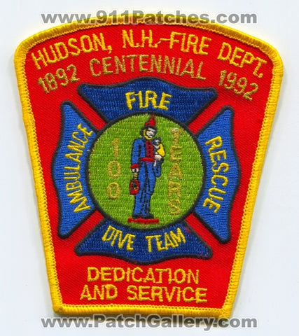 Hudson Fire Department 100 Years Patch New Hampshire NH