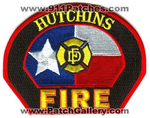 Hutchins Fire Department Patch Texas TX
