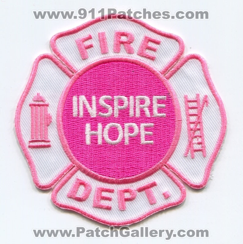 Inspire Hope Breast Cancer Awareness Fire Department Patch No State Affiliation