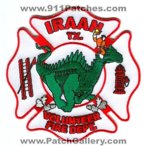 Iraan Volunteer Fire Department Patch Texas TX