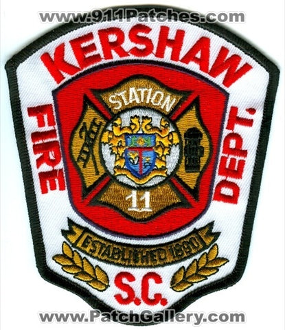 Kershaw Fire Department Station 11 Patch South Carolina SC