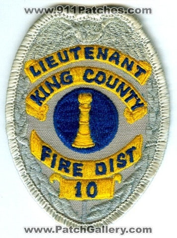King County Fire District 10 Lieutenant Patch Washington WA