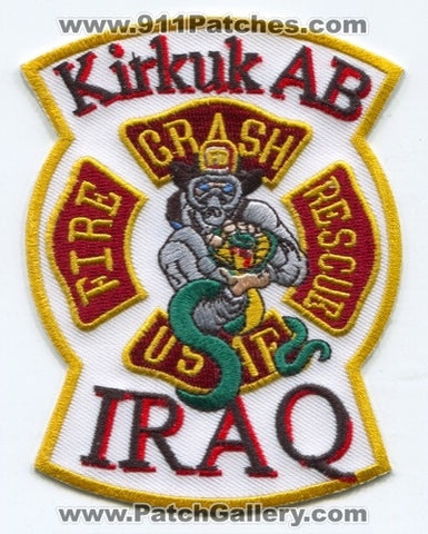 Iraq - Kirkuk Air Base AB Crash Fire Rescue CFR Department USAF Military Patch