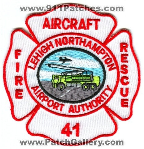 Lehigh Northampton Airport Authority Aircraft Fire Rescue 41 Patch Pennsylvania PA